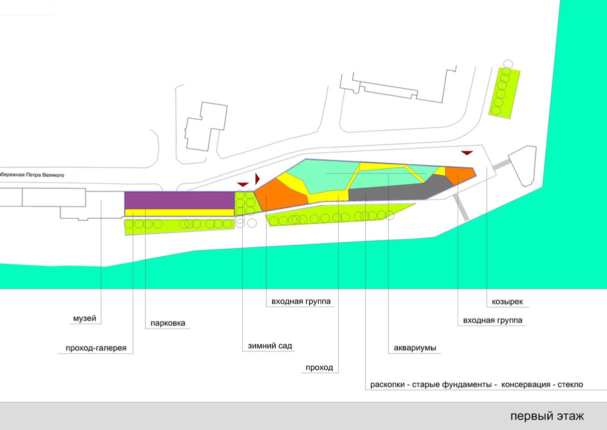 Объемно-планировочная архитектурная концепция экспозиции корпуса «Мировой океан»